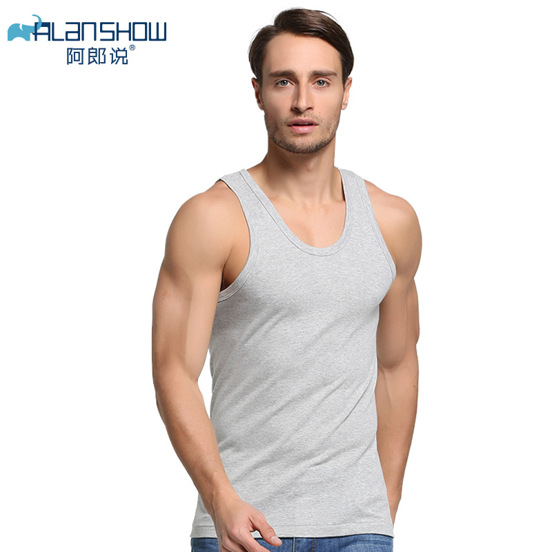 ALANSHOW Men Cotton Tank Tops Underwear Mens Undershirt Transparent Shirts Male Bodyshaper Fitness Wrestling Singlets