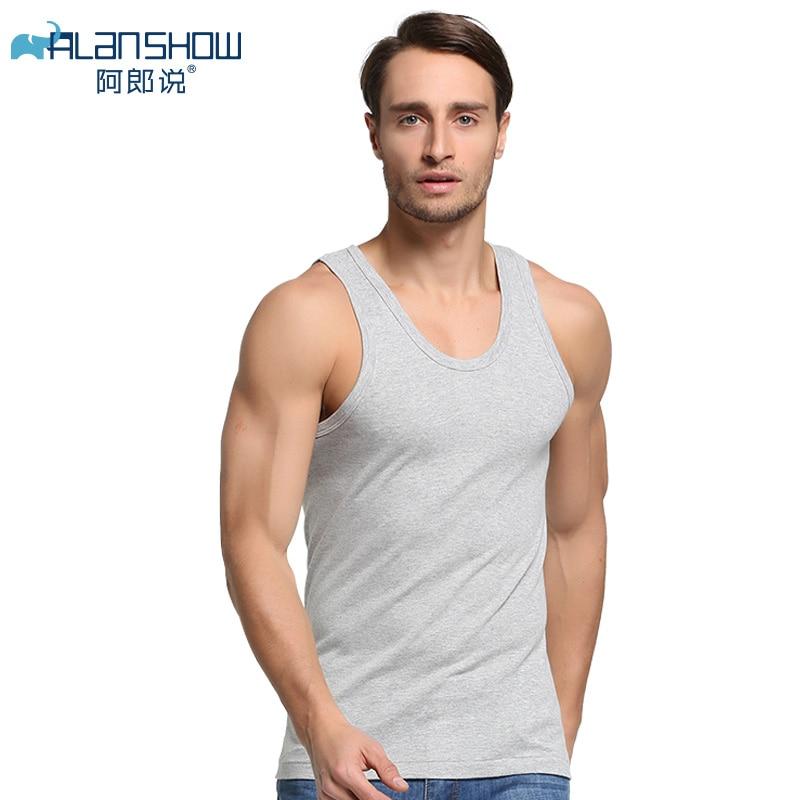 ALANSHOW Men Cotton Tank Tops Underwear Mens Undershirt Transparent Shirts Male Bodyshaper Fitness Wrestling Singlets