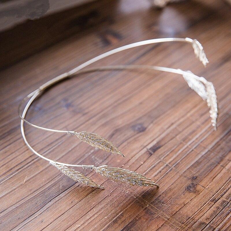 Blé Pic Tiara Couronne De Mariée Bandeau De Mariage Cheveux Accessoires Bandeau Diadème Bijoux Bandeau Bijoux Cheveux Coroa WIGO0856