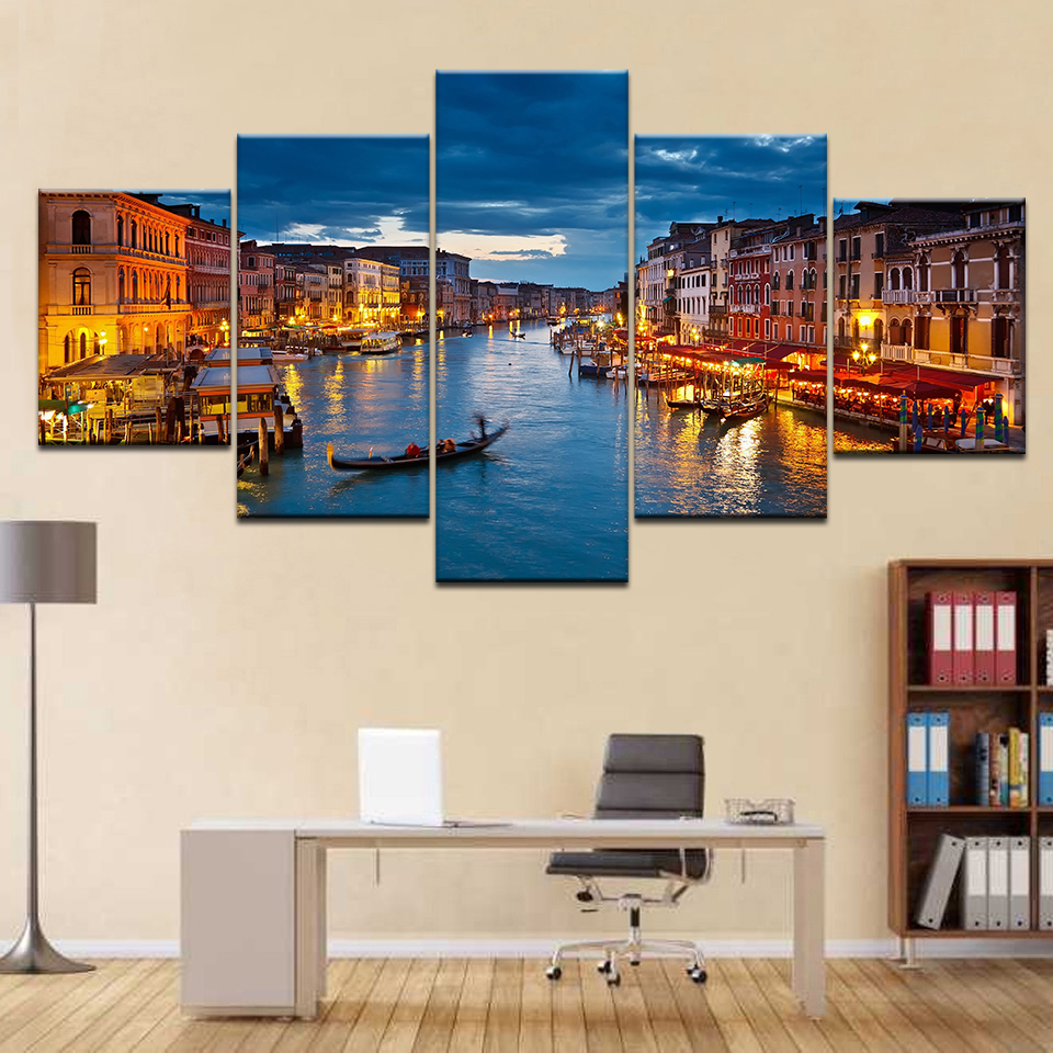 Wall Art Painting Pictures Canvas Print Modular Poster 5 Panel Venice Water City Boat Light Landscape Home Decor Modern Artwork