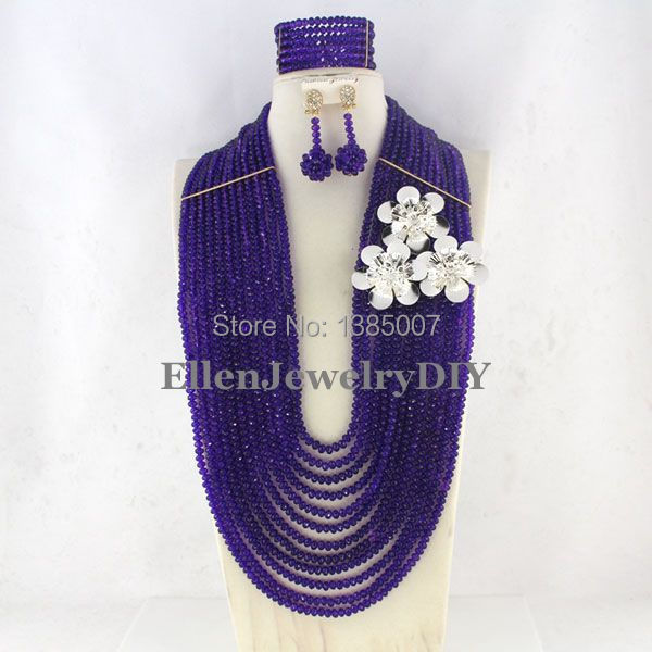Purple African Wedding Jewelry Set Crystal Jewelry Set African Beads Necklace Set Crystal Beads Necklace Set     W7191Purple African Wedding Jewelry Set Crystal Jewelry Set African Beads Necklace Set Crystal Beads Necklace Set     W7191