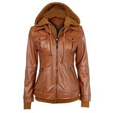 2016 Fashion Women'S Leather Jacket Hooded Long Sleeve Fake Two-Piece Chest Pocket Women Basic Coats Jaqueta De Couro J08 Cc