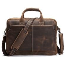 ROCKCOW Men's Leather Durable Briefcase, 16″ Laptop Bag Business Genuine Leather Handbags 8012