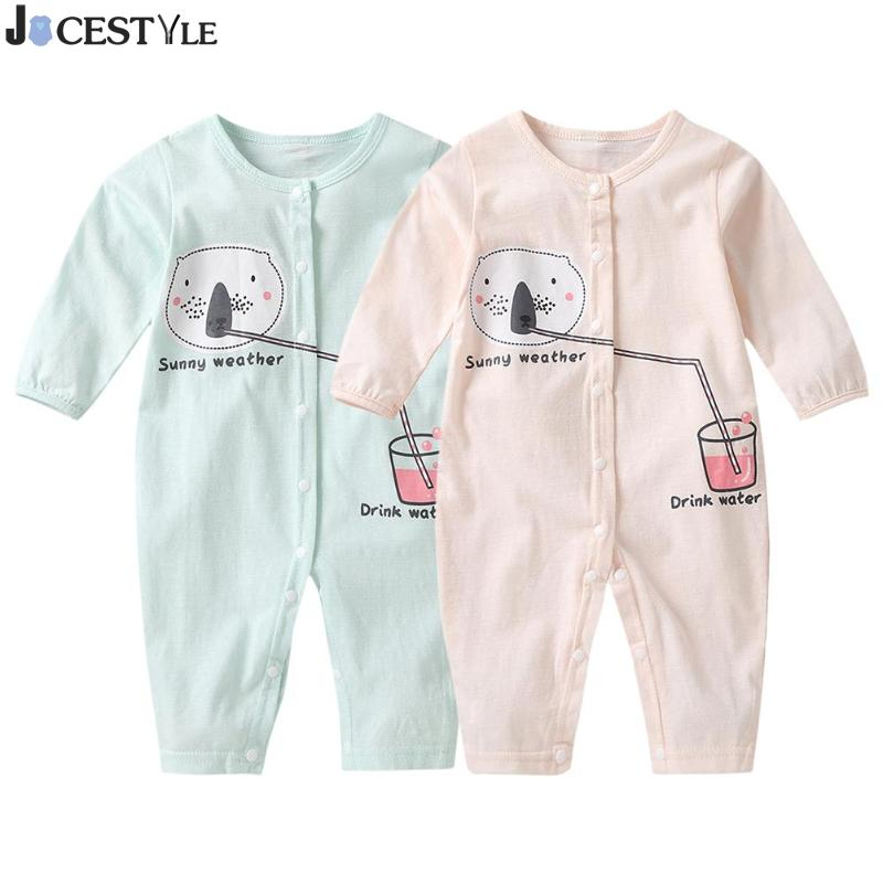 JOCESTYLE 2018 Autumn New Style Newborn Baby Boys Girls Long Sleeve Cartoon O-Neck Romper Kids Front Button Jumpsuit baby girls butterfly long sleeve romper newborn kids 2017 new arrival button jumpsuit outfits clothing for newborns age 3m 3y