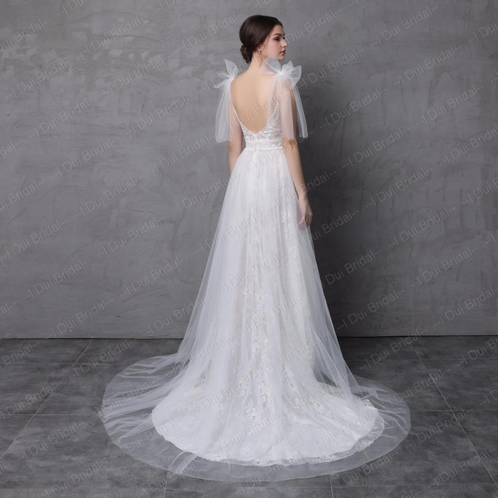 New Style Real Photo Wedding Dress Spaghetti Bow Tie Strap A Line Tulle Exquisite Lace Romantic Unique Design Split Leg