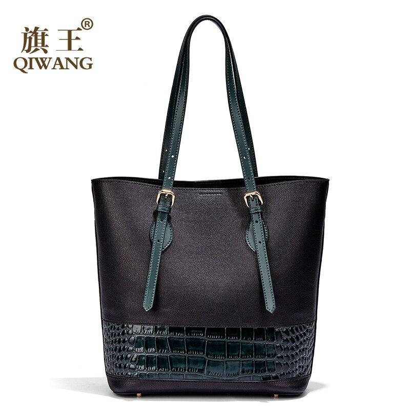 Brand Qiwang Real Leather Bag Casual Tote Crocodile Leather Handbag Fashion Women Luxury Long Handle Tote Bags for Women stylish women s tote bag with clip closure and crocodile print design