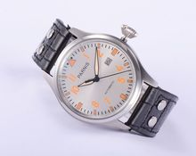 Hot Sale 47mm Parnis Big Pilot Silver Dial with Orange Numbers Automatic men watch Good Quality