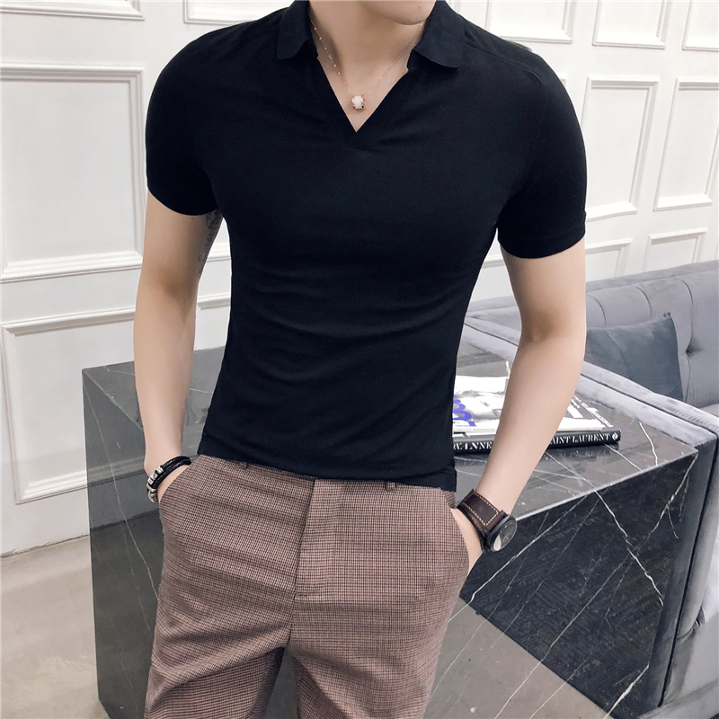 Black Mens   Polo   Shirt Summer High Quality Short Sleeve Men's   Polos   V Neck Comfortable Slim Fit   Polo   Shirt Men All Match 3XL-M
