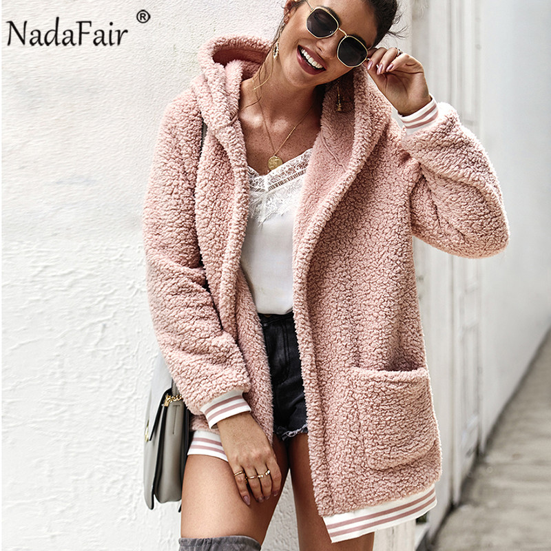 Nadafair Faux Fur Coat Women Hooded Winter Casual Teddy Coat Autumn Pockets Plus Size Fur Jacket Fleece Fluffy Overcoat Outwear