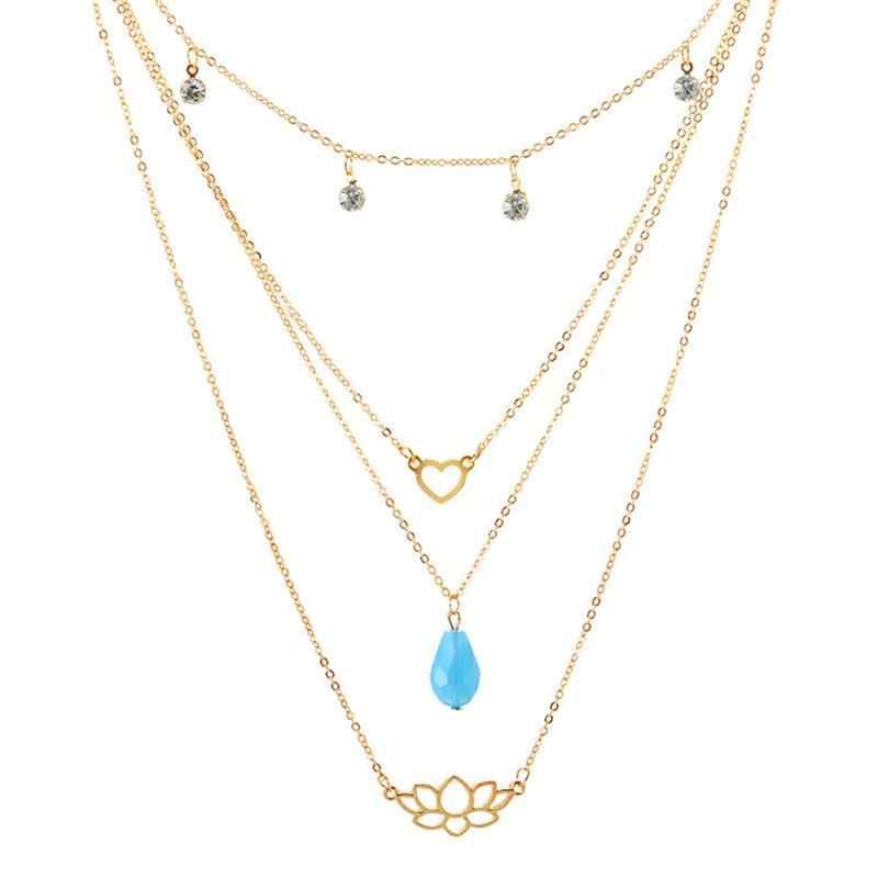 Classic Lady สร้อยคอหัวใจ Blue Pearl Lotus คริสตัลจี้สร้อยคอ Multilayer ชุดหญิง Choker เครื่องประดับงานแต่งงาน