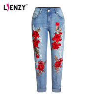 LIENZY Summer Red Rose Embroidered Jeans For Women High Elastic Ripped Jeans Boyfriend Denim Pants XS