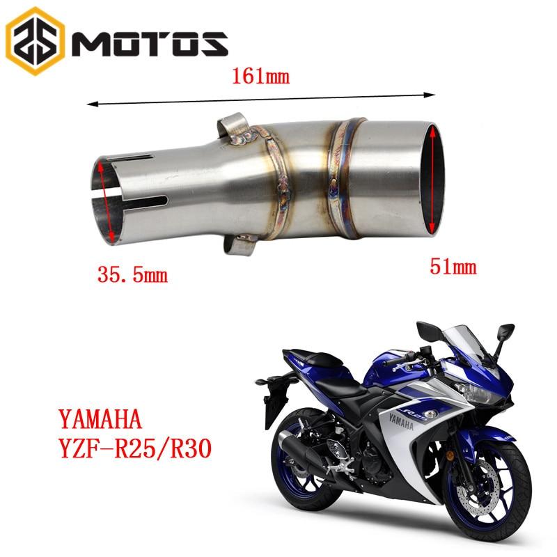 ZS MOTOS Moto D'échappement Pipe Milieu Pour Yamaha YZF R25 R30 Sans D'échappement