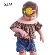 Ins 2019 hot girls Europe and America Clothing sets childrens Leopard shoulder tops + hole denim shorts  2 pcs clothes for kids