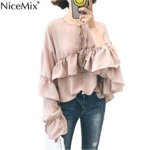 NiceMix 2019 Summer Womens Tops And Blouses Casual Plus Size Chiffon Blouse Female Sweet Ruffles Loose Lacing Blusa Femme