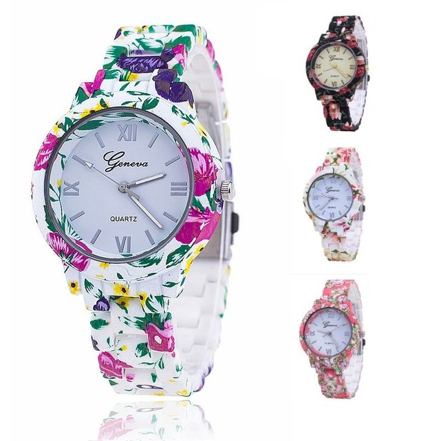MEIBO Fashion Geneva Floral Plastic Flower Bracelet Clasp Women Watches Ladies Dress Quartz Wristwatches Relogio Feminino Clock