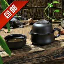 Purple pottery Kung Fu tea set fast cup A pot Two cups Portable office set of tea set teapot Teapot Set fast set