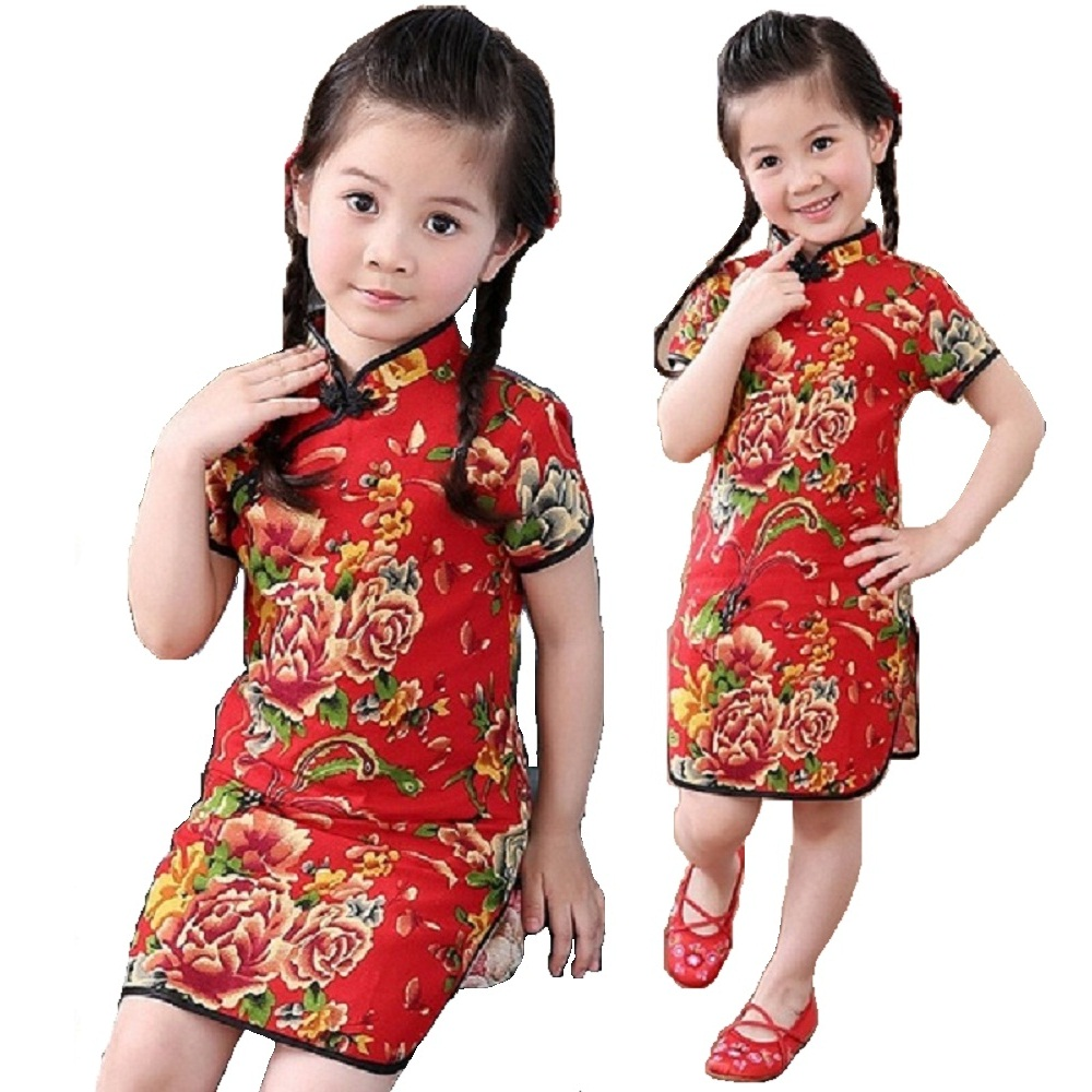 Rose Floral Baby Girls Qipao Dress Chinese Traditional Chi-pao Fashion New Year Children Dresses Kids Cheongsam Linen Clothes 5