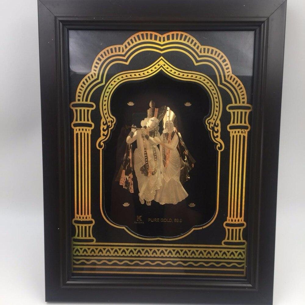 3d Gold Foil Frame India God 24k Gold Leaf Metal Crafts On Golden