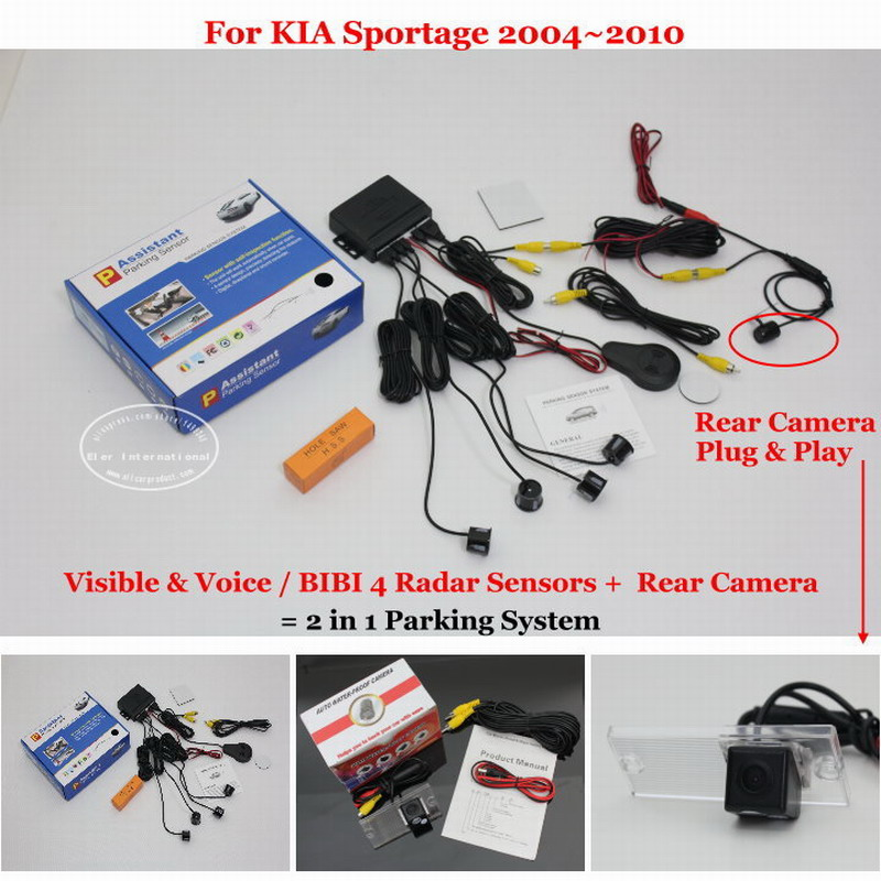 Liislee For KIA Sportage KM 2004~2010 - Car Parking Sensors + Rear View Camera = 2 in 1 Visual / BIBI Alarm Parking System мультиварка ves sk a13 b