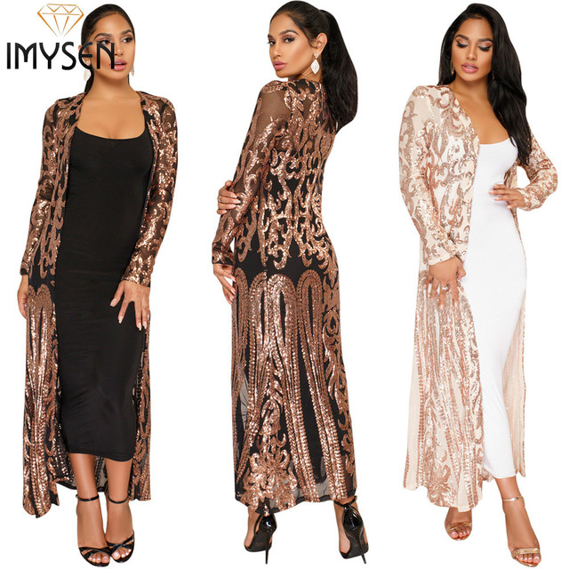 IMYSEN 2018 Spring Autumn Fashion Sequin Cardigan Sexy X Long Trench  Perspective Open Stitch New Arrive cfd0fc844b1b