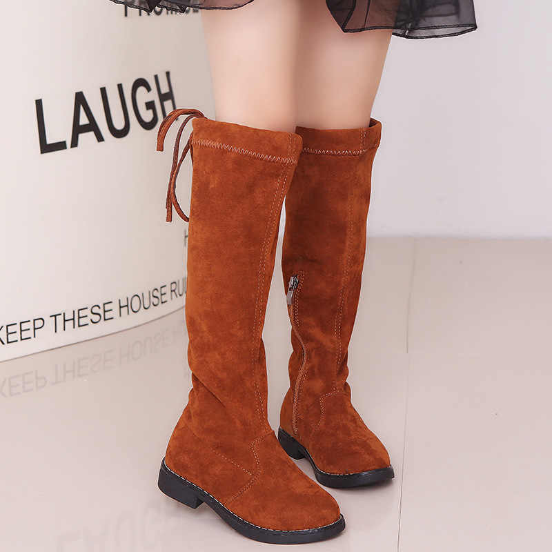a64a3550ea6577 ... Girls Knee-high Long Boots Princess Fashion Spring Winter Boots Black  Red Brown Size26- ...