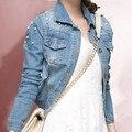 Europa 2015 Moda de Algodão Mulheres Buracos Beading Jaqueta Jeans de Manga Comprida Turn-Down Collar Single-Breasted Outwear Casaco