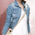 Europe 2015 Fashion Cotton Women Beading Holes Denim Jacket Long Sleeve Turn-Down Collar Single-Breasted Outwear Coat
