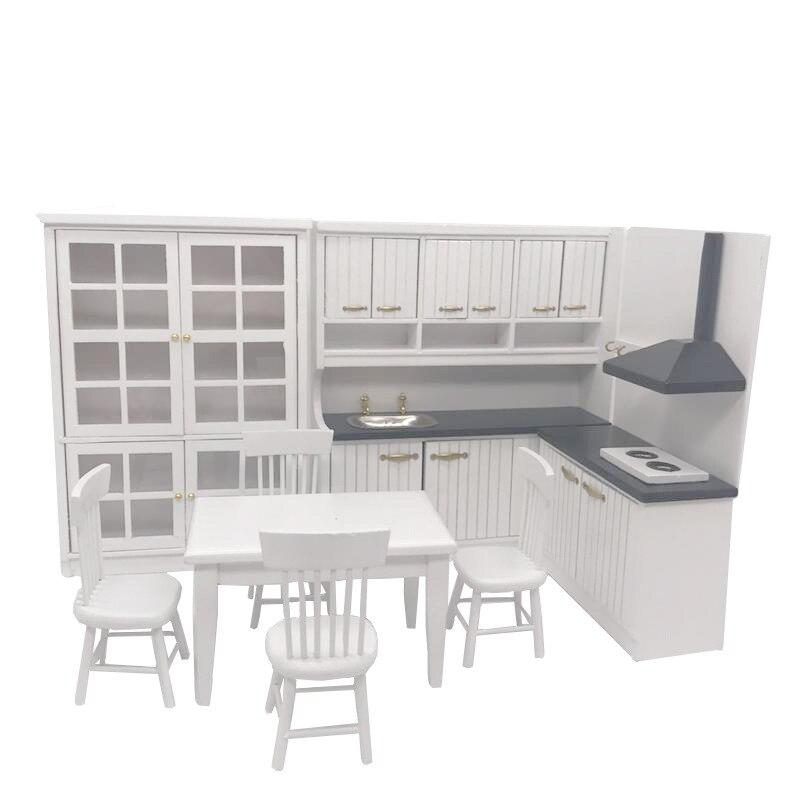 1/12 Dollhouse accessoires Mini lavabo en bois gamme hotte armoire Table chaise ensemble cuisine meubles jouets pour poupée maison décor