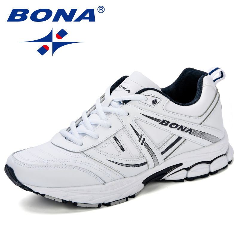 BONA New 2018  Men Running Shoes Breathable Leather Fashion Luxury Designer Sneakers High Quality Adult Male Sport Shoes-in Running Shoes from Sports & Entertainment    1