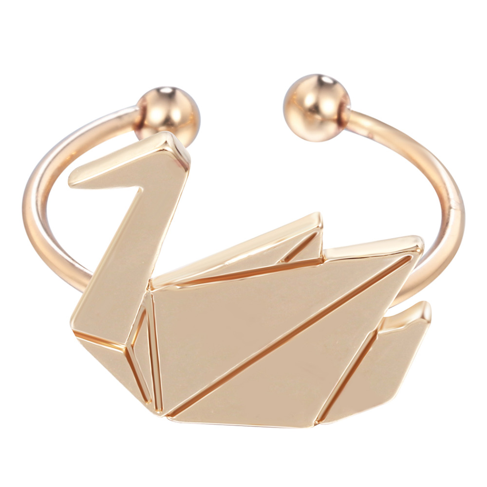 kinitial 10pcs adjustable gold silver origami swan rings for women animal finger round duck ring jewelry