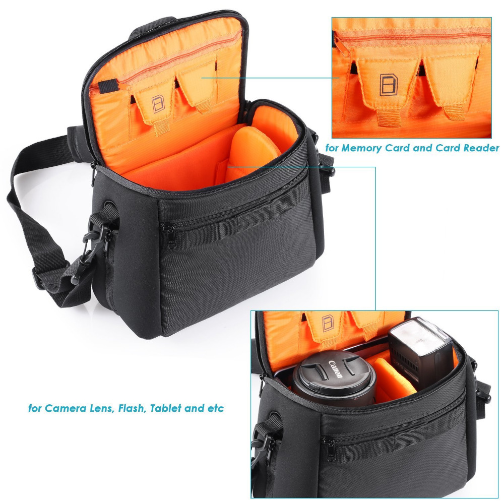 Neewer Waterproof Durable Portable Lens&Accessories Bag with Shoulder Strap for Nikon/Canon/Pentax/Olympus DSLR Camera