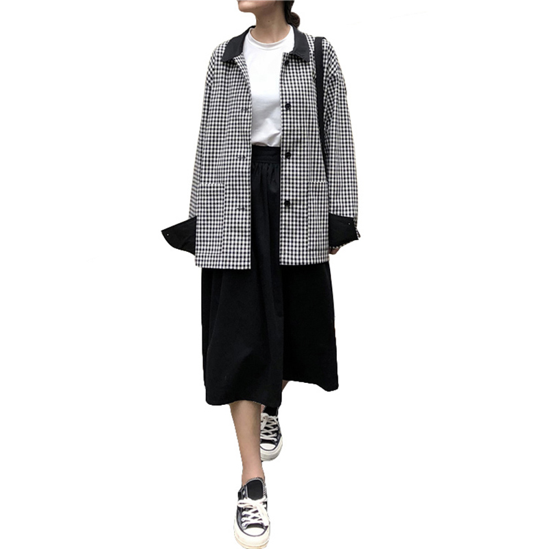 Fashion Retro Black White Plaid   Jacket   Women 2019 Harajuku Street Casual Loose Fall Coat For Women Thin Tops Female   Basic     Jacket