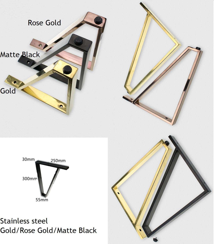 2Pcs/Lot Rose Gold Matte Black Stainless Steel Square Bar Bent Sofa Coffee Table TV Cabinet Dressing Cabinet Showcase Feet Leg