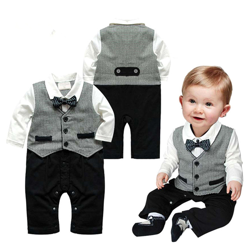 Cotton Baby Rompers Spring Baby Boy Clothes Gentleman Baby Boy Clothing Set Newborn Clothes Roupas Bebe Infant Baby Jumpsuits