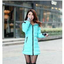 Winter new women's cotton coat Medium long down jacket Gloves hooded large size cotton jacket thick coat winter