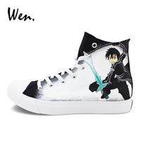 Wen Black Sneakers Hand Painted Shoes Anime Sword Art Online Design Graffiti Painting High Top Canvas