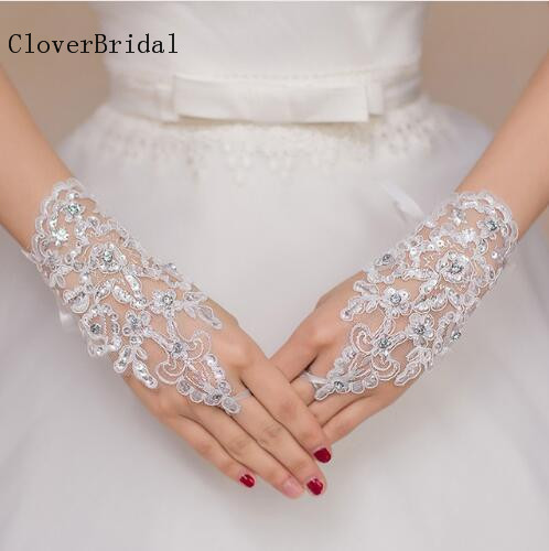 Short Bridal Gloves Fingerless White Red Ivory Wedding Gloves Cheap Accessories Wedding