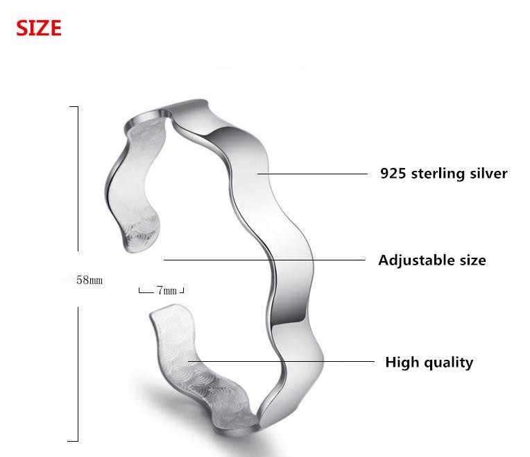 100% Plata de Ley 925 moda de onda de agua pulseras joyería no se decolora barato mujeres brazalete al por mayor Anti alergia