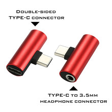 TYPE-C adapter Dual TYPE-C connector or 3.5mm headphone connector Audio charging 2 in 1 adapter for TYPE-C mobile phone(China)