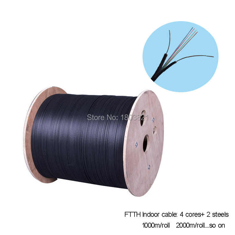 1000m/roll Steel Wire Type 4 Cores outdoor FTTH fiber optic Drop Cable Multi Loose Tubes Armoured single mode fiber optic cable
