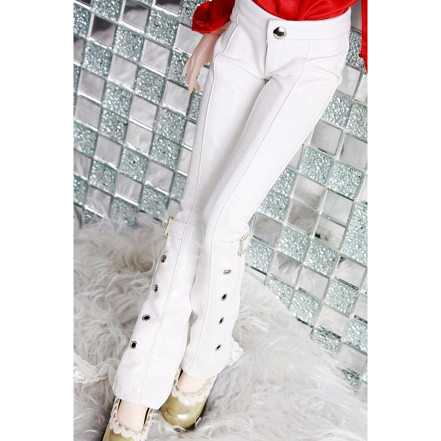 [wamami] Free Shipping New Wholesale/Retail White Leather Pants Trousers For 1/4 BJD Doll Dollfie
