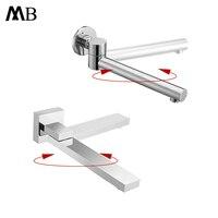 Bathtub Spout Chrome Brass Tub Filler Wall Mounted Bath & shower Spout Bathtub Taps 180 Rotation Spout Sprayer no Switch Handle