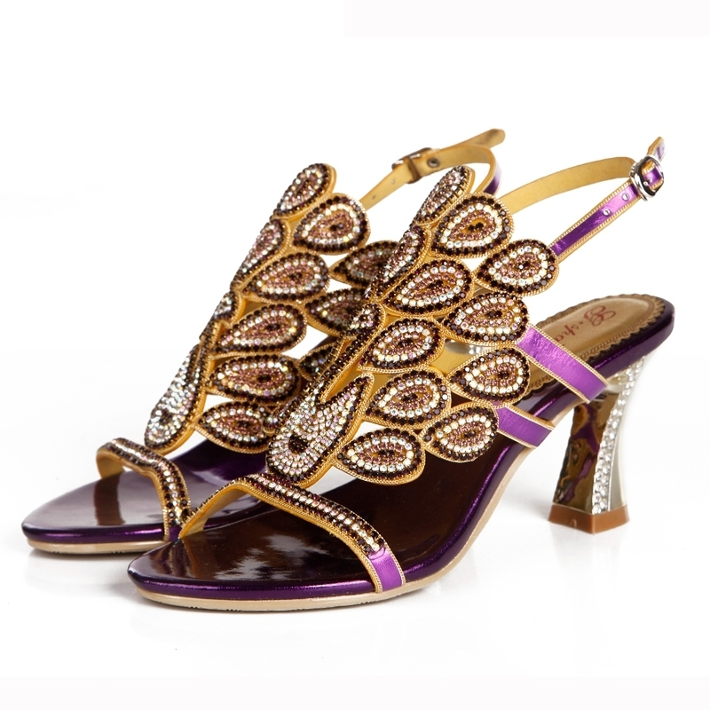 Beautiful Purple Rhinestone Women Sandals Chunky Heel 3 Inches Comfortable Wedding Bridal Shoes Mother of the Bride ShoesBeautiful Purple Rhinestone Women Sandals Chunky Heel 3 Inches Comfortable Wedding Bridal Shoes Mother of the Bride Shoes