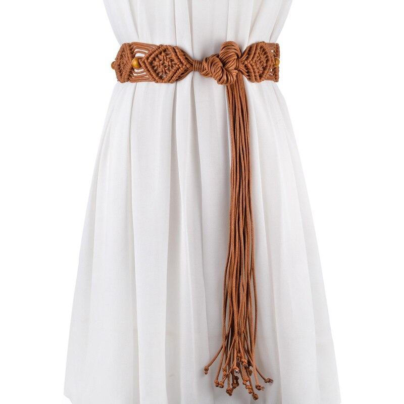 Belts For Women High Quality Wax Rope Knitted Wide Wasitline Tie Knots Women Belts Bohemian