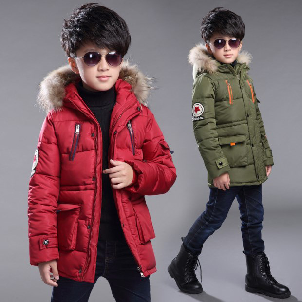 Boys Winter Jacket 2016 New Boys long section thick padded jacket Kids Fur collar Hooded coat