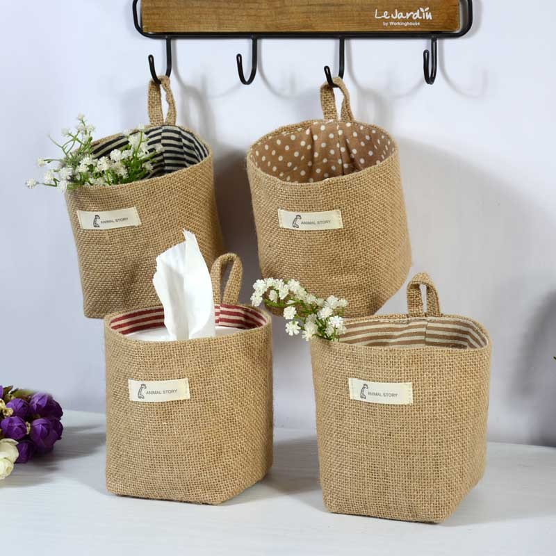 New Creative Country Style Cotton Linen Storage Basket Flowerpot Wall Hanging Wave Point Stripe Sacks Toy Multifunction Contain