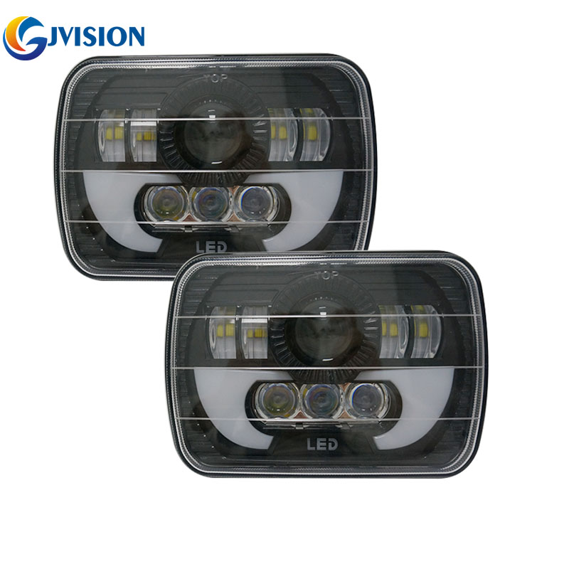 2PCS 5X7'' Off Road LED Headlights DRL for Jeep Wrangler YJ Cherokee XJ Comanche MJ 7X5 inch Daymaker truck light Hi/Lo beam 2pcs brand new high quality superb error free 5050 smd 360 degrees led backup reverse light bulbs t15 for jeep grand cherokee
