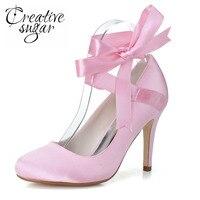 Creativesugar Elegancka wstążka pasek kostki zasznurować zamknięte toe szpilki bridal wedding party pompy prom kobieta buty różowy biały