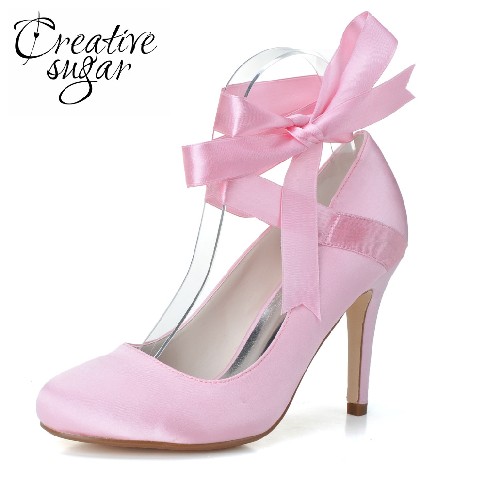 Creativesugar Elegant ribbon ankle strap lace up closed toe high heels bridal wedding party pumps prom woman shoes pink white