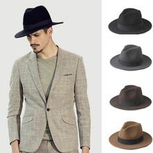 Fashion 100 Wool Wide Brim Winter Autumn Men Felt Trilby Fedora Hat For Gentleman Top Cloche Panama Sombrero Cap 58CM cheap Fedoras Adult HXG JQX Solid AGS-QuWO Casual